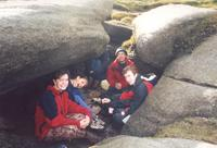 lunch under a big rock on kinder